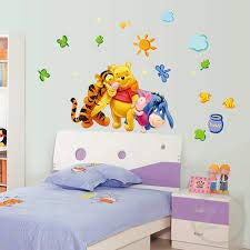 Winnie The Pooh and Friends Wall Decal for Kids Rooms,Nursery Daycare Wall Sticker,Mural Home Decor,Kids Wall Art. (Pooh Mural)