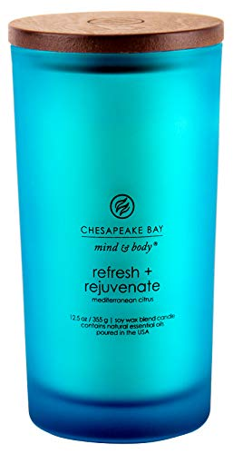 - Chesapeake Bay Candle Scented Candle, Refresh + Rejuvenate (Mediterranean Citrus), Large