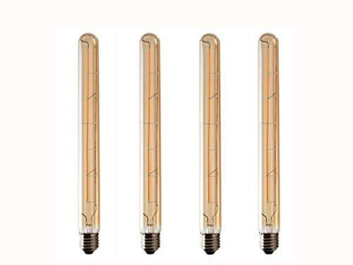 JKLcom T300 Vintage LED Filament Bulb T300 6W Dimmable Vintage Edison Light Bulb Long Tubular Vintage LED Light,E26/E27 Medium Base,Amber Glass,Warm White 2300K,6W(40W Equivalent),Dimmable,Pack of 4
