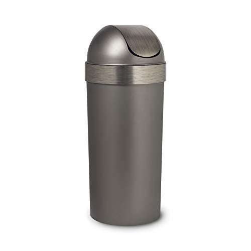 Umbra Venti 16-Gallon Swing Top Kitchen Trash Large, 35-inch Tall Garbage Can for Indoor, Outdoor or Commercial Use, Pewter