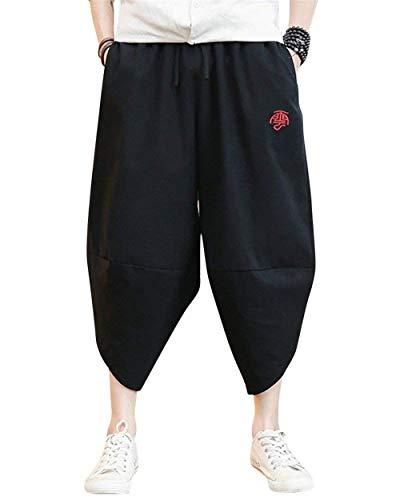 Libero Pantaloni Bobo Il Capri Hippie Uomo Con Tempo Larghi Nero Laterali Lino Da Per 88 Confortevoli Tasche Cap Harem In OrP5qO