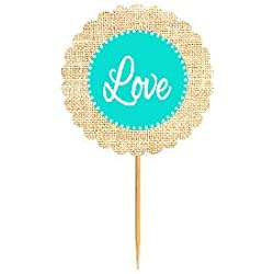 Love Turquoise Rustic Burlap Wedding Cupcake Decoration Topper Food Picks -12Pack