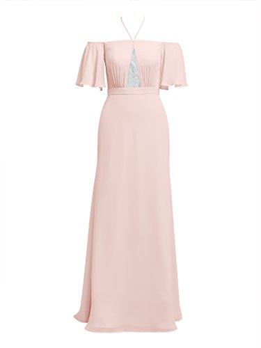 Alicepub Dresses Maxi Dress Evening Women's Bridesmaid Pink Formal Chiffon Long for Pearl wfnTwr4AqW