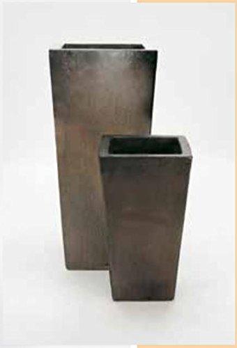 Blumenübertopf Kubis aus Keramik, sonnen- und regenbeständig für Innen und Außen, Farbe Sepia 33x33x60cm