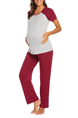 Ekouaer Women's Maternity Nursing Pajamas Set Soft Pregnancy Breastfeeding Pj Sets (Wine Red M)