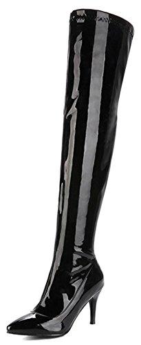 Aisun Damesschouder Sexy Gepolijst Chic Met Puntige Neus Aan De Binnenzijde Van Stiletto Hoge Hak Over De Knie Met Rits Zwart