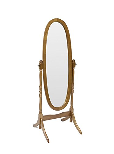 Hongville Hardwood Cheval Floor Full Length Dressing Mirror, Dark Oak (Dark Oak Mirror)