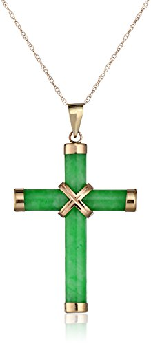 14k Yellow Gold Green Jade Tube Cross Pendant Necklace, 18