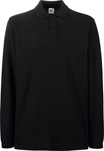 Fruit Of The Loom Premium Long Sleeve Polo Shirt Schwarz 2XL