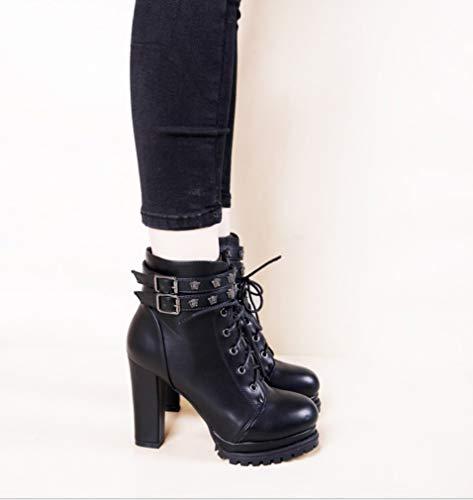 La Cheville Bottes Sexy Liangxie Noir Boucle À Mi Pour mollet Avec Aiguille Lacets Talon Femmes wtEAfqqd8x
