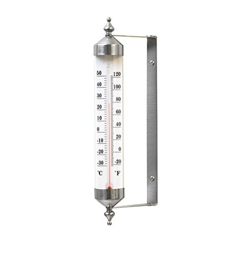 Bjerg Instruments Satin Nickel Finish Adjustable Angle 10 Inch Garden Thermometer ()