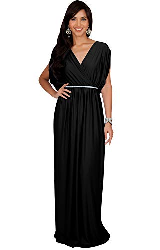 KOH KOH Plus Size Womens Long Cocktail Empire Waist Short Sleeve Formal V-Neck Bridesmaid Summer Flowy Bridesmaids Wedding Guest Grecian Gown Gowns Maxi Dress Dresses, Black 3XL 22-24 -