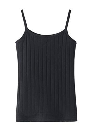 Women's Slim Spaghetti Straps Thermal Cami Skinny Fleece Lined Tops Black US 0