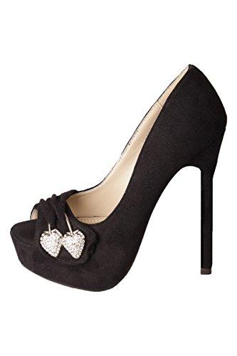 High Heels Peep Toe Pumps mit Strass Spange & hohen Stiletto Absatz Schwarz