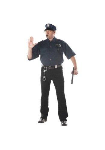 California Costumes Men's Cop Shirt Costume,Navy,P (48-52)