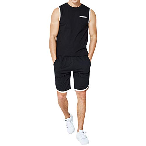 (Big Sale! Fastbot Men's Sports Suit Large Size Round Neck Stitching Solid Color Sleeveless Vest Casual Shorts)