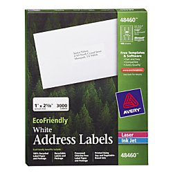 Recycled Address Labels - Avery(R) Easy Peel(R) EcoFriendly Permanent Inkjet/Laser Address Labels, 48460, 1in. x 2 5/8in, 100% Recycled, White, Pack Of 3,000