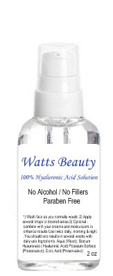 Beauté Watts 100% pure solution d'acide hyaluronique, Paraben & sans alcool / multi-usage - 60ml