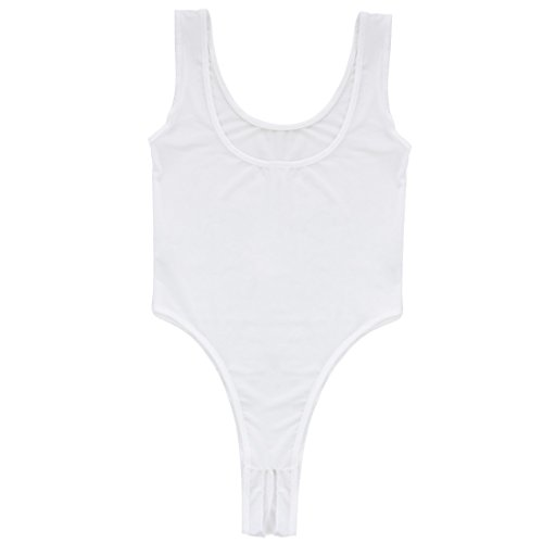 ACSUSS Women's See Through Unlined Thongs Crotchless Bodysuit Mesh Leotard Top White One ()