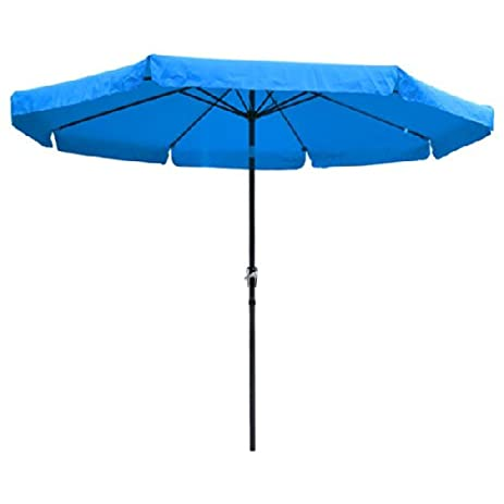 10 Ft Diameter Tilt Outdoor Patio Umbrella Furniture Blue Polyester 8 Rib  Structure 8+