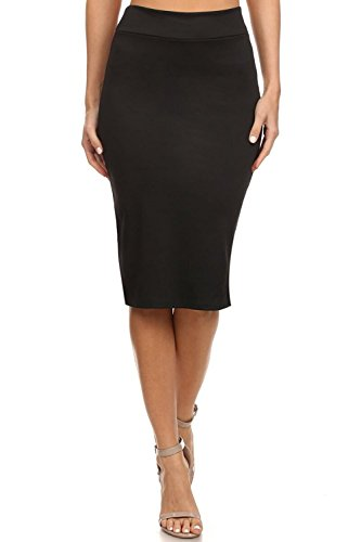 Sportoli Womens Pencil Skirt Below The Knee Length Midi Bodycon USA, Office Wear - Black (Size L) (Pencil Length Skirt Knee Waist)