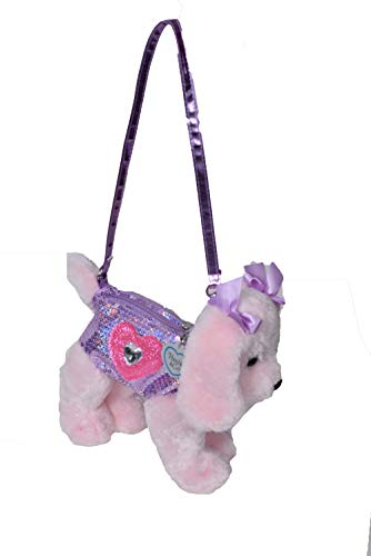 Poochie Girls Plush Handbag- Pink Lab with Halographic Sequins Glitter Heart Applique and Rhinestone Heart