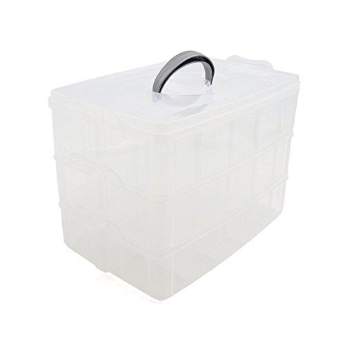 Amazon.com: eDealMax hogar de materiales plásticos Grandes DE 3 capas 30 ranuras Ajustable joyas caja de almacenamiento Juguetes recipiente transparente: ...