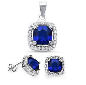 (350ct Blue Sapphire Cz 925 Sterling Silver Pendant Jewelry Set - Jewelry Accessories Key Chain Bracelet Necklace Pendants)