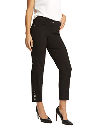 89th + Madison Women's Buckle Cuff Stretch Straight Leg Pants Black