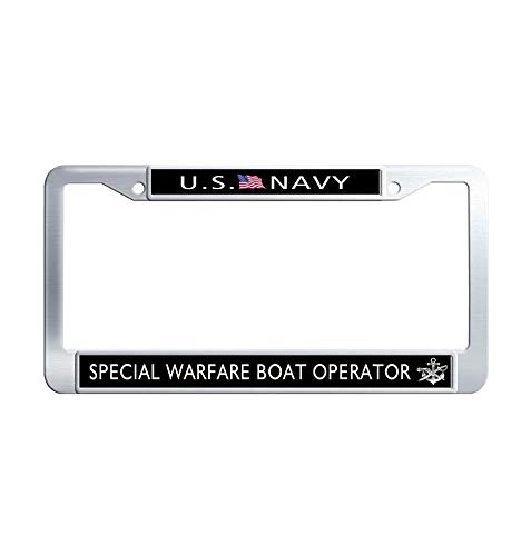 JiuznsFrame US Navy Special Warfare Boat Operator License Plate Frame, Waterproof Metal Stainless Steel Car tag Frame Holder with Screw Caps