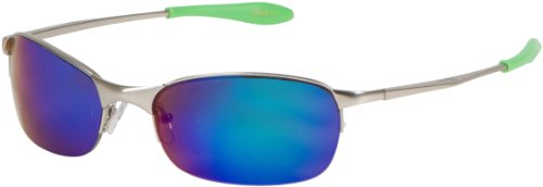 X-loop Metal (111X8 X-Loop Comfort Fit Wrap Style Sunglasses for Summer Outdoor Sports - Chrome Frame - Blue Flash - Green Tips)