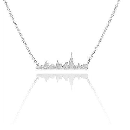 Art Attack Silvertone New York City Manhattan Skyline Cityscape NYC Pendant Necklace