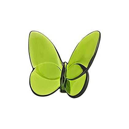 Image of Home and Kitchen Baccarat Crystal Lucky Butterfly Olive Green 2102547