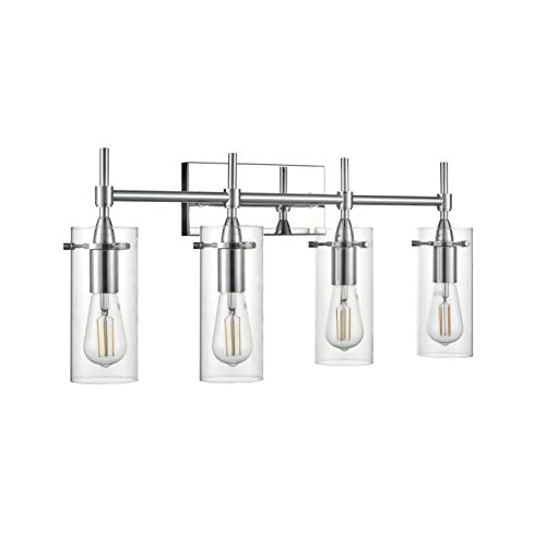 Effimero Chrome Bathroom Vanity 4 Light Fixture – Modern Over Mirror Lighting with Clear Glass Shades
