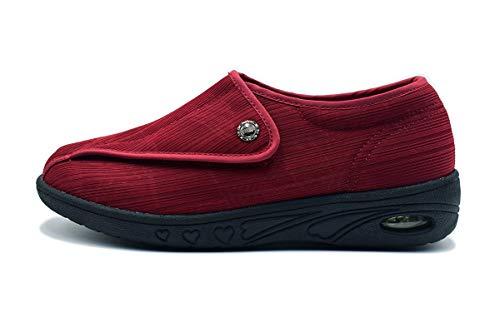 Mei MACLEOD Women's Memory Foam Foot Pain Plantar Faciitis Extra Wide Width Arthritis Edema Nursing Shoes (8, Wine red)