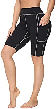 ALONG FIT Neoprene Sauna Pants Slimming Weight Loss Workout Leggings with Pocket for Women High Waist