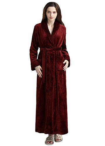 (Long Bath Robe for Womens Plush Soft Fleece Bathrobes Night Robes Dressing Gown (S/M, Wine)