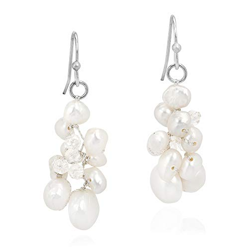 Sophisticated Elegance Cultured Freshwater White Pearl Crystal Cluster Sterling Silver Dangle Earrings