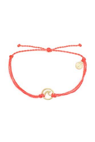 Pura Vida Gold Wave Bracelet w/Plated Charm - Adjustable Band, 100% Waterproof - Strawberry