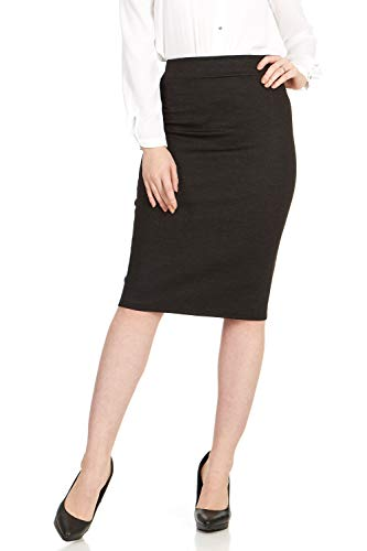 - X America Ponti Midi Skirts for Women Knee Length with Wide Waist Band, Junior & Plus Size Distressed Black