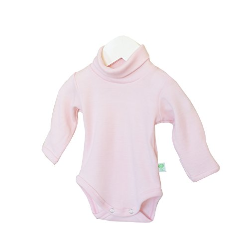 (GREEN ROSE Baby Roll Neck Bodysuit Long Sleeves Onesie Turtle Neck one-Piece Clothes for Baby Girl Boy 0-24 Months 100% Merino Wool (56/62 cm Newborn, Pink))