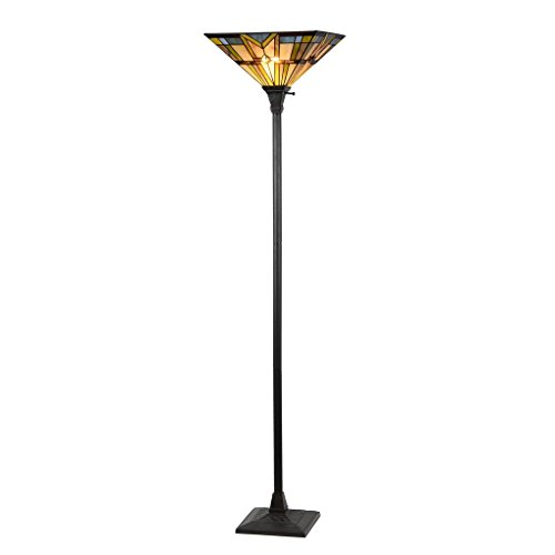 Docheer Tiffany Style Mission 1 Light Torchiere Floor Lamp Tall 69-Inch, 14-Inch Wide, Multi-Colored