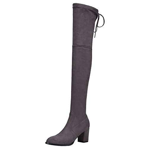 Melady Women Fashion Mid Heels Boots Above The Knee Pull On Grey