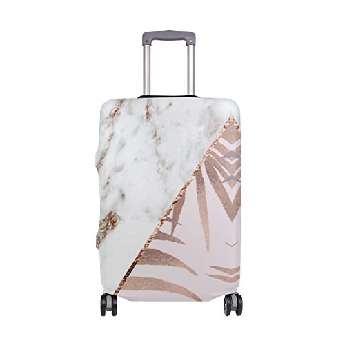Rose Gold Marble Tropical Travel Suitcase Protector Zipper Suitcase Cover Elastic