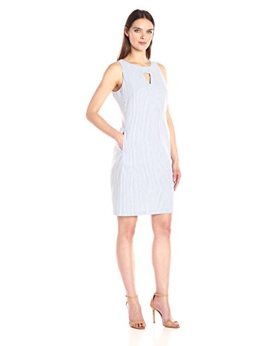 Nine West Women's Sleeveless Shift Dress with Pockets and Cutout Neck Detail, Navy/White, (Womens Seersucker Shift Dress)