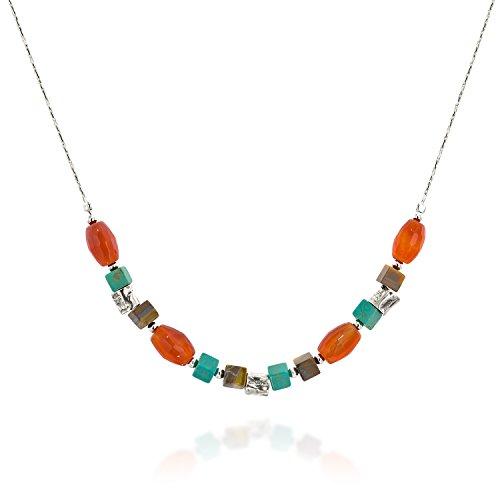 Tiger's Eye Turquoise & Carnelian 925 Sterling Silver Beaded Necklace Women's Jewelry, 18