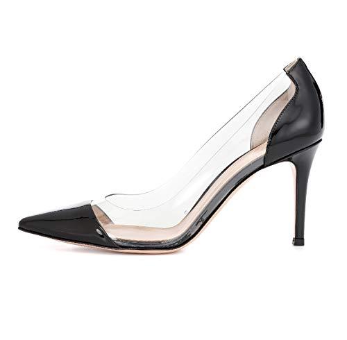 Sammitop Women's Cap-Toe Pumps Plexi High Heel Shoes Slip On Suede Pumps Black US9 Black Suede Cap Toe Pumps