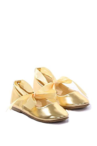 Toddler3 to Youth3 Ballet Flat Girl Shoe with Ribbon Tie in Gold – Toddler – 4
