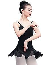 AFAVOM Women Adult Camisole Ballet Dance Dress Backless Chiffon Tutu Skirted Leotard Gymnastics Skating Dancewear Costume