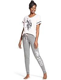 Womens 2 Piece Short Sleeve Shirt and Long Pajama Pants...